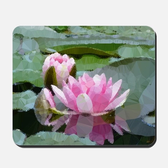 Pink Water Lilies Geometric Floral Mousepad