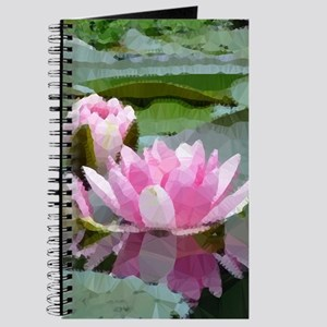 Pink Water Lilies Geometric Floral Journal