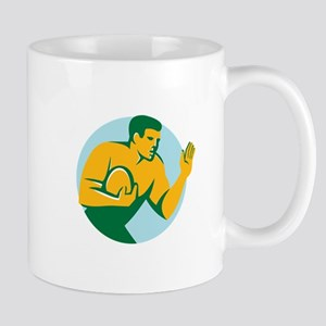 Rugby Player Fend Off Circle Retro Mugs