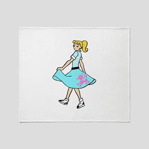 POODLE SKIRT GIRL Throw Blanket