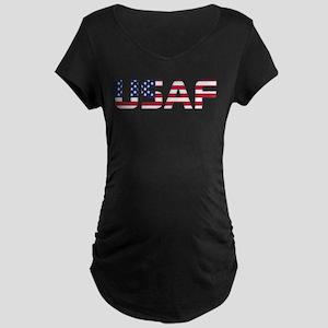 USAF American Flag Maternity Dark T-Shirt
