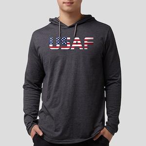 USAF American Flag Mens Hooded Shirt