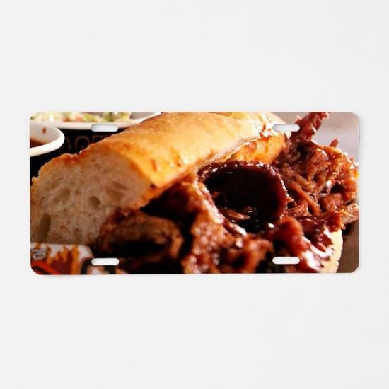 BBQ Beef Brisket Sandwich Aluminum License Plate