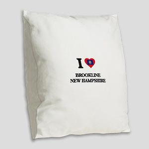 I love Brookline New Hampshire Burlap Throw Pillow