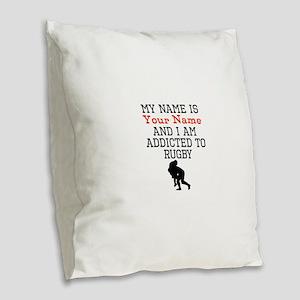 Rugby Addict Burlap Throw Pillow