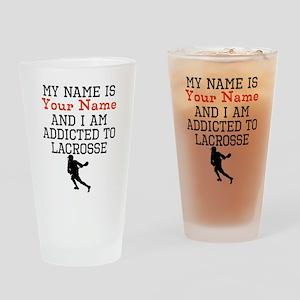 Lacrosse Addict Drinking Glass