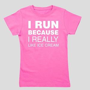I Run Because I Like Ice Cream Girl's Tee