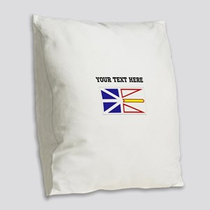 Custom Newfoundland Flag Burlap Throw Pillow