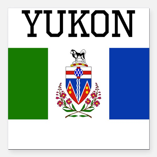 "Yukon Flag Square Car Magnet 3"" x 3"""