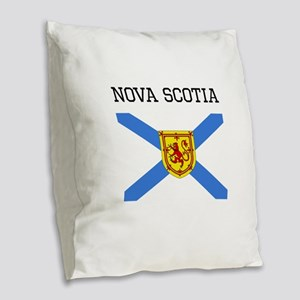 Nova Scotia Flag Burlap Throw Pillow
