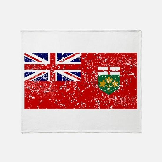 Worn Ontario Flag Throw Blanket