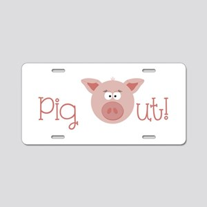 Pig Out Aluminum License Plate