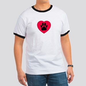 Red Heart With Dog Paw Prin T-Shirt