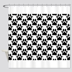 Black Dog Paw Print Pattern Shower Curtain