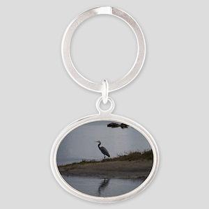 Great Blue Heron Oval Keychain