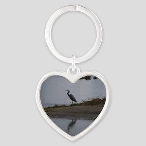 Great Blue Heron Heart Keychain