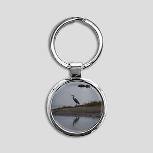 Great Blue Heron Round Keychain