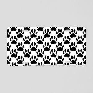 Black Dog Paw Print Pattern Aluminum License Plate