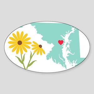 Maryland State Outline Black Eyed Susan Flower Sti