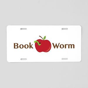 Book Worm Aluminum License Plate