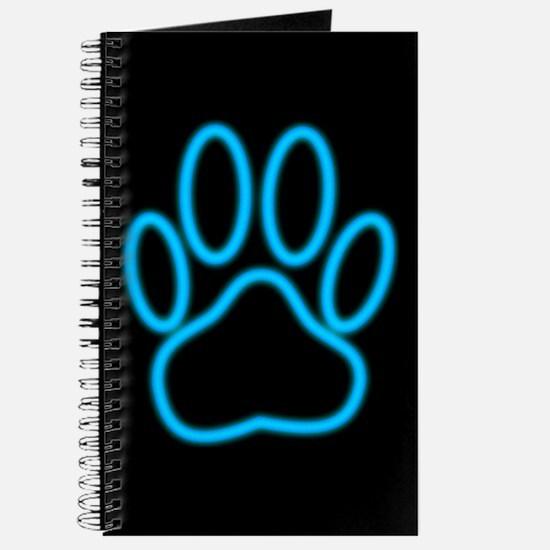 Blue Neon Dog Paw Print Journal