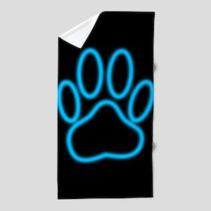 Blue Neon Dog Paw Print Beach Towel