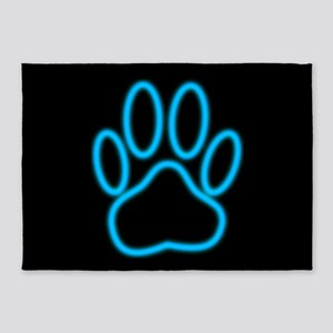 Blue Neon Dog Paw Print 5'x7'Area Rug