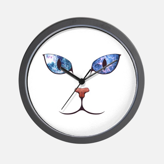 Blue Eyes Space Cat Wall Clock