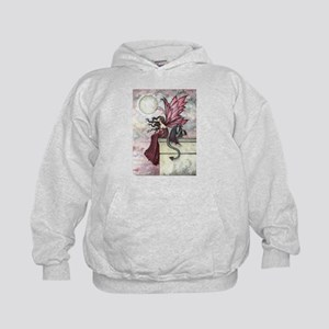 Restless Ruby Fairy and Dragon Illustr Kids Hoodie