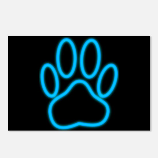 Blue Neon Dog Paw Print Postcards (Package of 8)