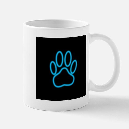 Blue Neon Dog Paw Print Mugs