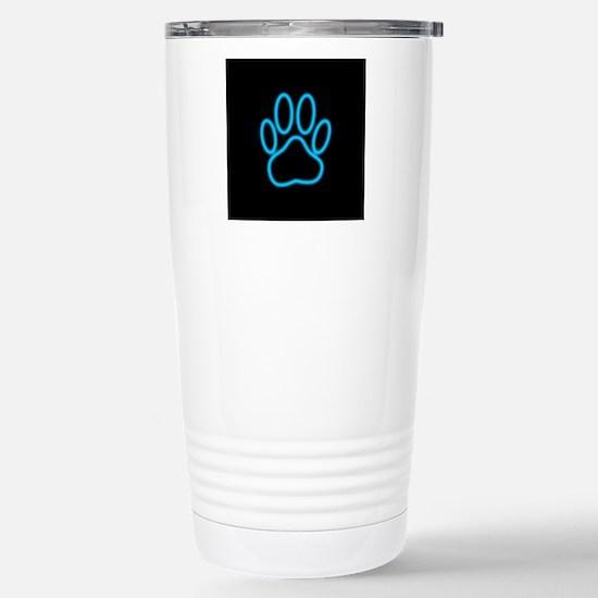 Blue Neon Dog Paw Print Stainless Steel Travel Mug