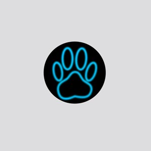 Blue Neon Dog Paw Print Mini Button