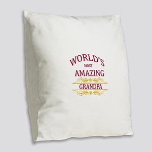 Grandpa Burlap Throw Pillow