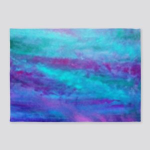 Energetic Acrylic and Watercolor Bl 5'x7'Area Rug