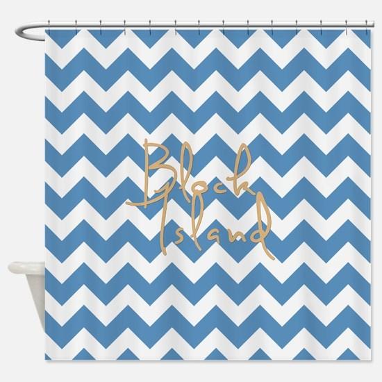 Blue Block Island Chevron Stripes Shower Curtain