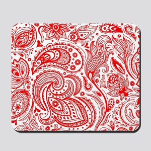 Red And White Vintage Floral Paisley Mousepad