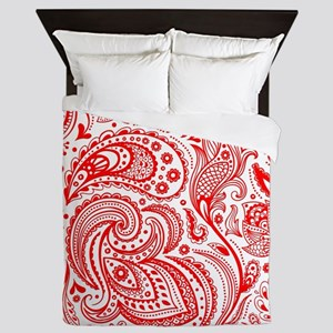 Red And White Vintage Floral Paisley Queen Duvet