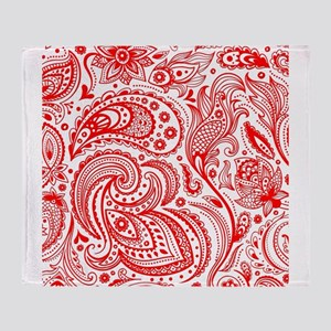 Red And White Vintage Floral Paisley Throw Blanket