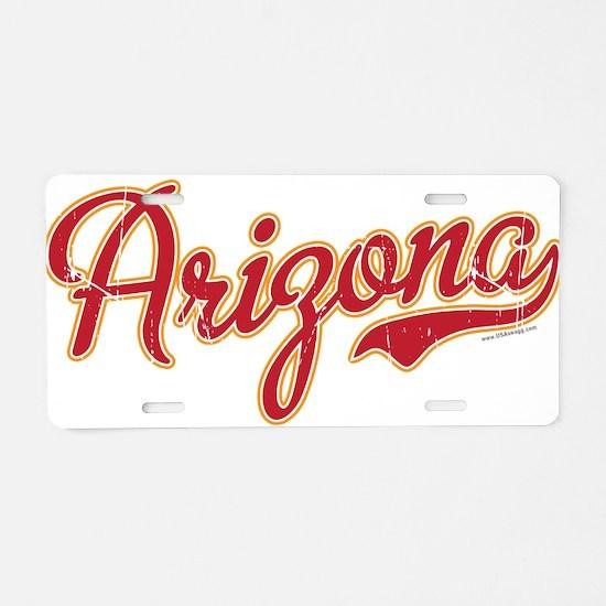 Arizona Script Font VINTAGE Aluminum License Plate