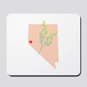 Nevada State Outline Sagebrush Flower Mousepad