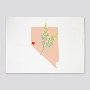 Nevada State Outline Sagebrush Flower 5'x7'Area Ru