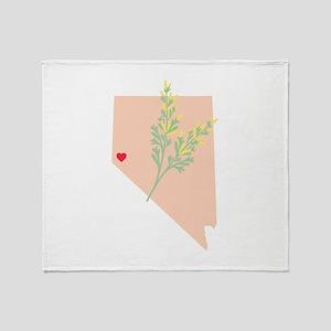 Nevada State Outline Sagebrush Flower Throw Blanke