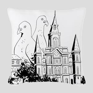 Laissez Les Pigeonnes Rouler Woven Throw Pillow