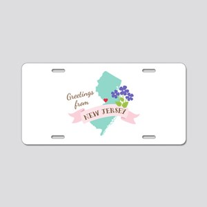 New Jersey State Outline Violet Flower Greetings A