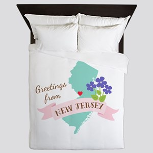 New Jersey State Outline Violet Flower Greetings Q