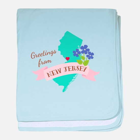 New Jersey State Outline Violet Flower Greetings b