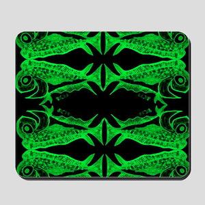 Retro Mahi Mahi Fish Pattern - Green. F Mousepad