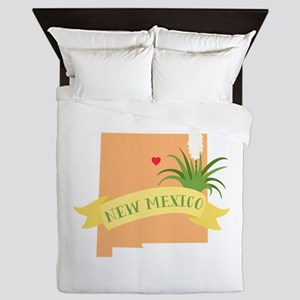 New Mexico State Outline Yucca Flower Queen Duvet