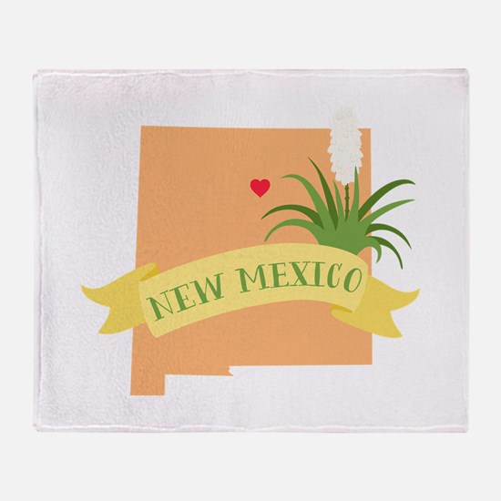 New Mexico State Outline Yucca Flower Throw Blanke